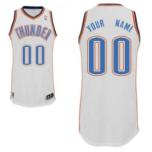 Maillot Adidas Blanc Home Oklahoma City Thunder - Authentic Personnalisé - Enfants