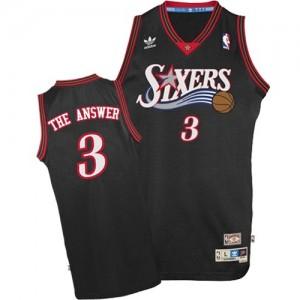 """Philadelphia 76ers Mitchell and Ness Allen Iverson #3 """"The Answer"""" Throwback Authentic Maillot d'équipe de NBA - Noir pour Homme"""