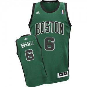 Maillot NBA Boston Celtics #6 Bill Russell Vert (No. noir) Adidas Swingman Alternate - Homme