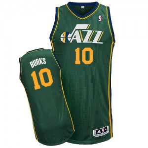 Maillot Authentic Utah Jazz NBA Alternate Vert - #10 Alec Burks - Homme