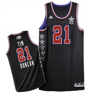 San Antonio Spurs #21 Adidas 2015 All Star Noir Authentic Maillot d'équipe de NBA pas cher - Tim Duncan pour Homme