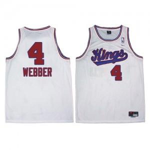 Sacramento Kings #4 Adidas New Throwback Blanc Authentic Maillot d'équipe de NBA Magasin d'usine - Chris Webber pour Homme