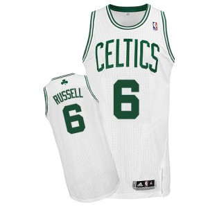 Maillot NBA Boston Celtics #6 Bill Russell Blanc Adidas Authentic Home - Homme