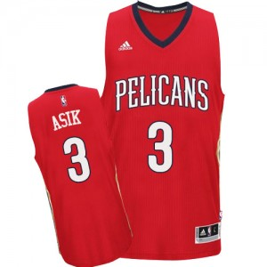 Maillot NBA Rouge Omer Asik #3 New Orleans Pelicans Alternate Authentic Homme Adidas