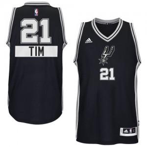 Maillot NBA Noir Tim Duncan #21 San Antonio Spurs 2014-15 Christmas Day Authentic Homme Adidas