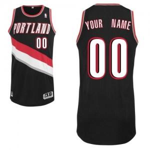 Maillot NBA Noir Authentic Personnalisé Portland Trail Blazers Road Homme Adidas