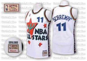Maillot NBA Oklahoma City Thunder #11 Detlef Schrempf Blanc Adidas Authentic Throwback 1995 All Star - Homme