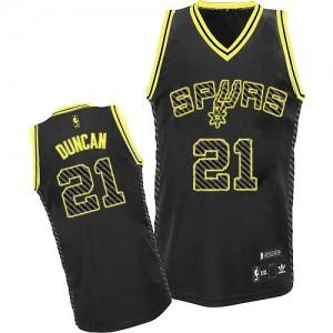 San Antonio Spurs #21 Adidas Electricity Fashion Noir Authentic Maillot d'équipe de NBA Vente - Tim Duncan pour Homme