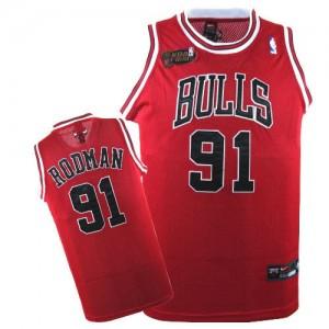 Chicago Bulls Nike Dennis Rodman #91 Champions Patch Authentic Maillot d'équipe de NBA - Rouge pour Homme