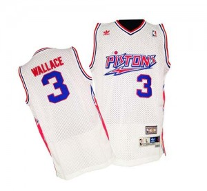 Detroit Pistons #3 Adidas Throwback Blanc Swingman Maillot d'équipe de NBA 100% authentique - Ben Wallace pour Homme