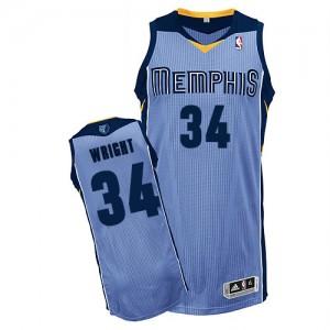 Maillot NBA Bleu clair Brandan Wright #34 Memphis Grizzlies Alternate Authentic Homme Adidas