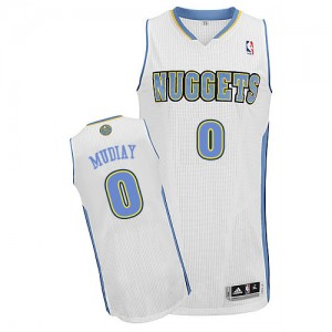 Maillot NBA Denver Nuggets #0 Emmanuel Mudiay Blanc Adidas Authentic Home - Homme