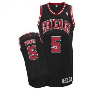 Chicago Bulls #5 Adidas Alternate Noir Authentic Maillot d'équipe de NBA magasin d'usine - Bobby Portis pour Homme