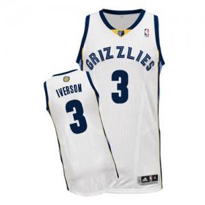 Maillot NBA Memphis Grizzlies #3 Allen Iverson Blanc Adidas Authentic Home - Homme