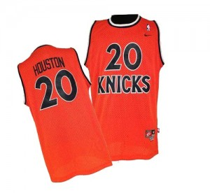 Maillot NBA New York Knicks #20 Allan Houston Orange Nike Authentic Throwback - Homme