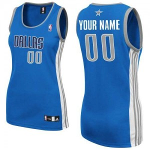 Maillot NBA Bleu royal Authentic Personnalisé Dallas Mavericks Road Femme Adidas