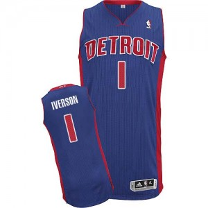 Maillot NBA Authentic Allen Iverson #1 Detroit Pistons Road Bleu royal - Homme