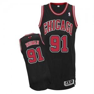 Maillot Authentic Chicago Bulls NBA Alternate Noir - #91 Dennis Rodman - Homme