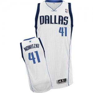 Maillot Adidas Blanc Home Authentic Dallas Mavericks - Dirk Nowitzki #41 - Enfants