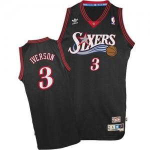 Maillot Adidas Noir 1997-2009 Throwback Authentic Philadelphia 76ers - Allen Iverson #3 - Homme