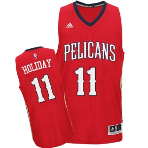 Maillot NBA New Orleans Pelicans #11 Jrue Holiday Rouge Adidas Swingman Alternate - Homme