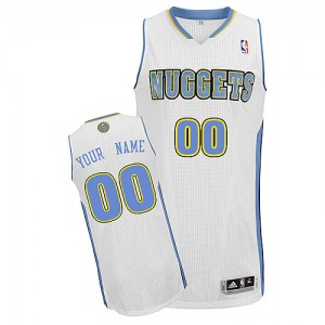 Denver Nuggets Personnalisé Adidas Home Blanc Maillot d'équipe de NBA pas cher - Authentic pour Homme