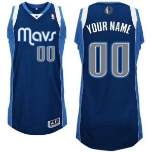 Maillot NBA Authentic Personnalisé Dallas Mavericks Alternate Bleu marin - Homme