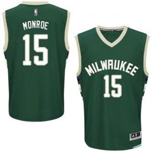 Milwaukee Bucks Greg Monroe #15 Road Authentic Maillot d'équipe de NBA - Vert pour Homme