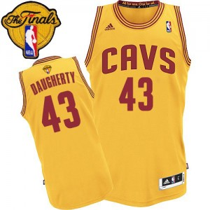 Maillot NBA Or Brad Daugherty #43 Cleveland Cavaliers Alternate 2015 The Finals Patch Authentic Homme Adidas