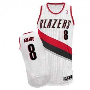 Maillot Adidas Blanc Home Authentic Portland Trail Blazers - Al-Farouq Aminu #8 - Homme