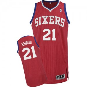 Maillot Authentic Philadelphia 76ers NBA Road Rouge - #21 Joel Embiid - Homme