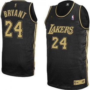 Maillot NBA Los Angeles Lakers #24 Kobe Bryant Noir / Gris No. Adidas Authentic Final Patch - Homme