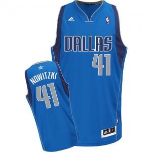 Maillot NBA Bleu royal Dirk Nowitzki #41 Dallas Mavericks Road Swingman Homme Adidas