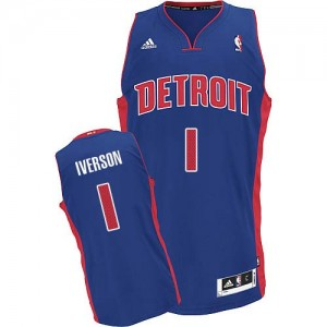 Maillot NBA Bleu royal Allen Iverson #1 Detroit Pistons Road Swingman Homme Adidas