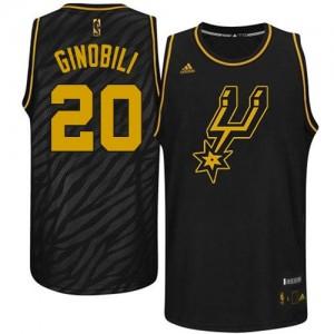 Maillot Authentic San Antonio Spurs NBA Precious Metals Fashion Noir - #20 Manu Ginobili - Homme