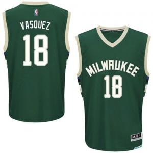 Maillot NBA Milwaukee Bucks #18 Greivis Vasquez Vert Adidas Authentic Road - Homme