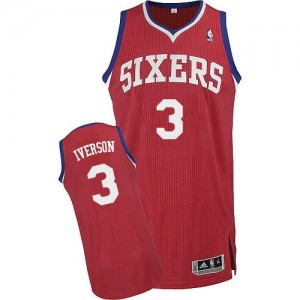Maillot Authentic Philadelphia 76ers NBA Road Rouge - #3 Allen Iverson - Homme