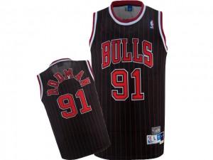 Chicago Bulls Nike Dennis Rodman #91 Throwback Authentic Maillot d'équipe de NBA - Noir Rouge pour Homme
