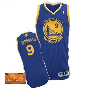 Golden State Warriors #9 Adidas Road Autographed Bleu royal Authentic Maillot d'équipe de NBA pas cher en ligne - Andre Iguodala pour Homme