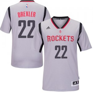 Maillot NBA Houston Rockets #22 Clyde Drexler Gris Adidas Authentic Alternate - Homme