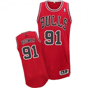 Maillot Adidas Rouge Road Authentic Chicago Bulls - Dennis Rodman #91 - Homme