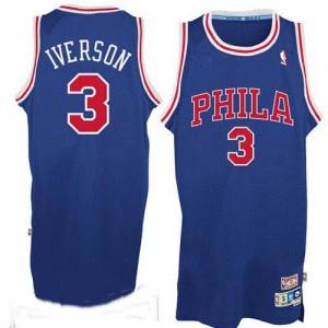 Maillot NBA Authentic Allen Iverson #3 Philadelphia 76ers Throwack Bleu / Rouge - Homme