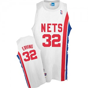 Maillot NBA Brooklyn Nets #32 Julius Erving Blanc Adidas Swingman Throwback ABA Retro - Homme
