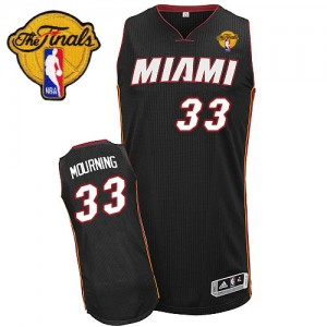 Maillot Adidas Noir Road Finals Patch Authentic Miami Heat - Alonzo Mourning #33 - Homme