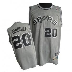 Maillot NBA San Antonio Spurs #20 Manu Ginobili Gris Adidas Authentic Throwback - Homme