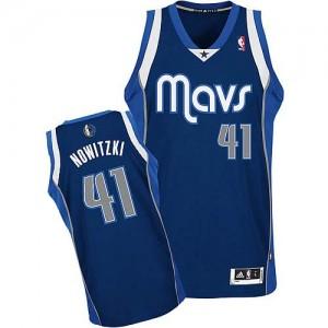 Dallas Mavericks #41 Adidas Alternate Bleu marin Authentic Maillot d'équipe de NBA achats en ligne - Dirk Nowitzki pour Enfants