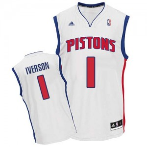 Maillot NBA Blanc Allen Iverson #1 Detroit Pistons Home Swingman Homme Adidas