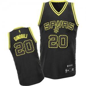 San Antonio Spurs #20 Adidas Electricity Fashion Noir Authentic Maillot d'équipe de NBA la vente - Manu Ginobili pour Homme