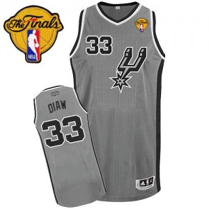 Maillot Adidas Gris argenté Alternate Finals Patch Authentic San Antonio Spurs - Boris Diaw #33 - Homme