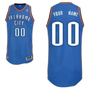 Maillot Adidas Bleu royal Road Oklahoma City Thunder - Authentic Personnalisé - Enfants
